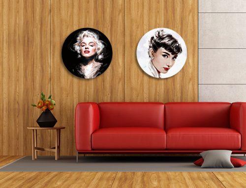 Trendy interieur met ronde schilderijen