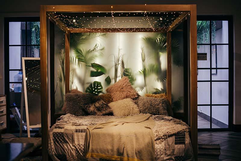 Slaapkamer inspiratie bed met lichtjes
