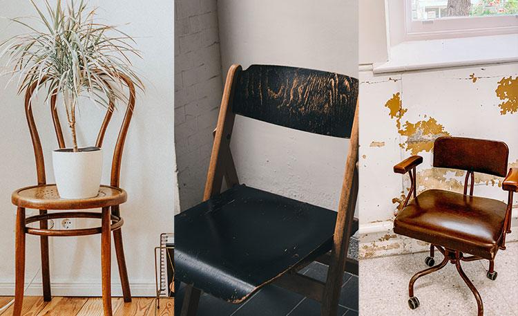 Verschillende soorten modellen vintage stoelen