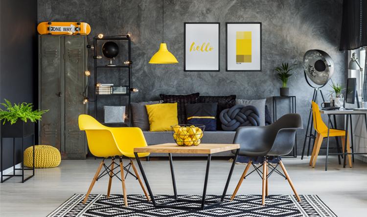 industriele woonkamer kleuren